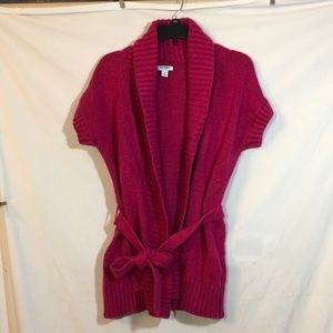 Old Navy Fuchsia Pink Open Front Tie Front Sweater